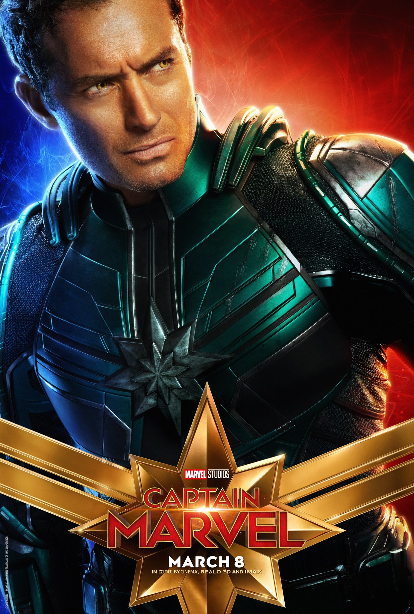 Captain Marvel Character Poster - Jude Law Marvell Yonn Rogg