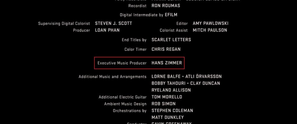 Hans Zimmer Iron Man Executive Music Producer