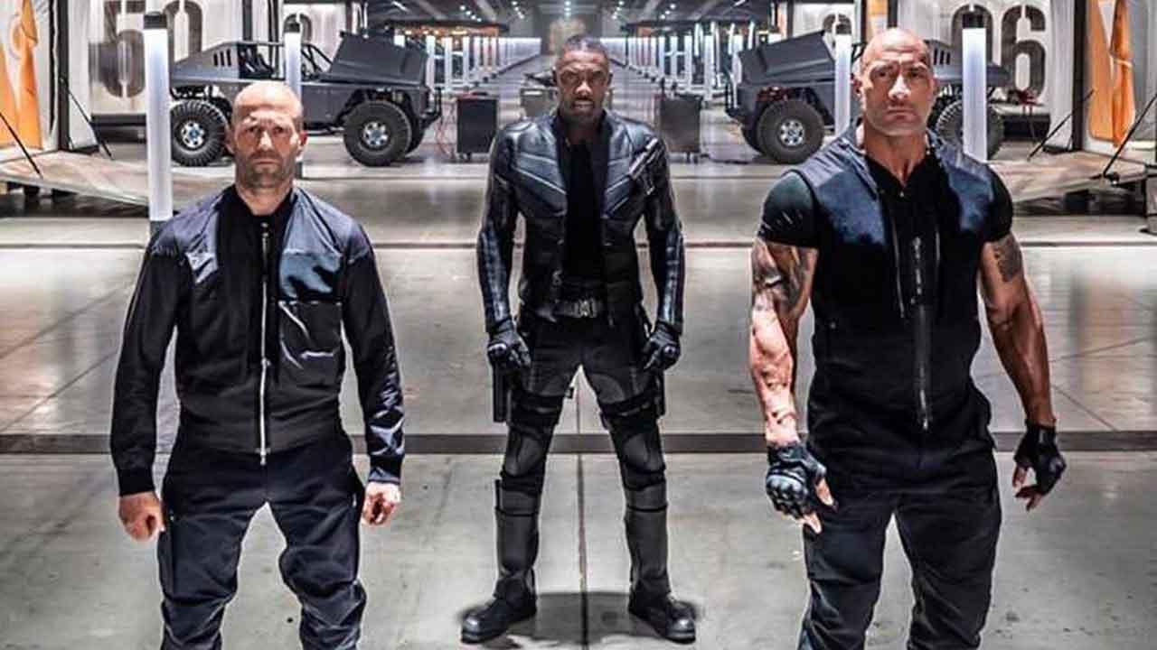 First Look At Hobbs And Shaw Dwayne Johnson Idris Elba And