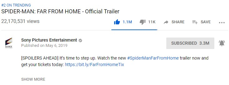 Spider-Man Far From Home Trailer 1 Million Likes