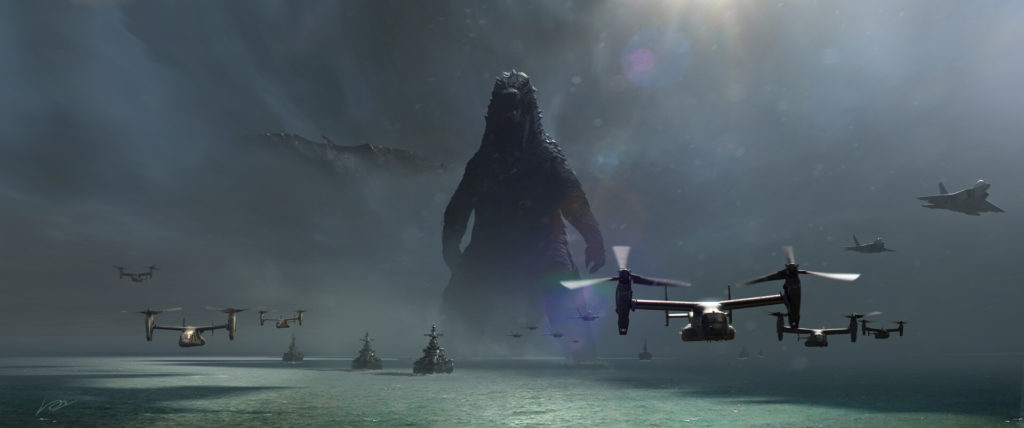 Godzilla 2 King Of The Monsters Early Concept Art - Ocean Battle - Chris Voy
