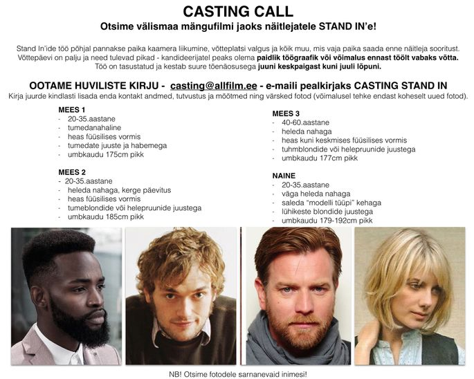 Tenet Casting Call Stand-In
