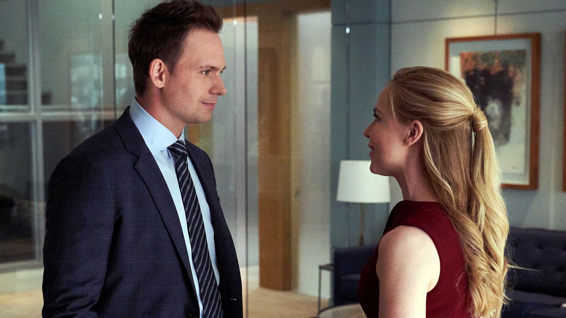 Suits S09E05 Mike Ross Patrick J Adams Katrina Bennett Amanda Schuller