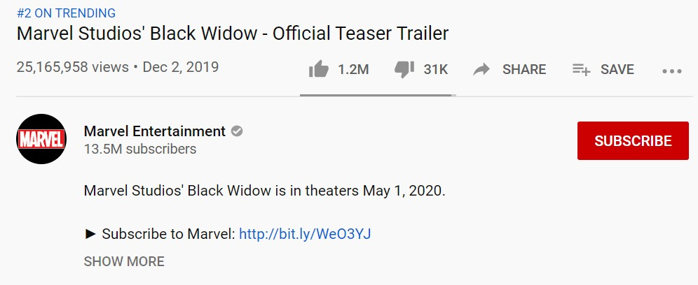 Black Widow Trailer Trending YouTube