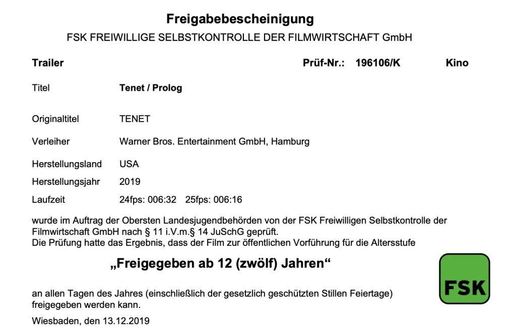 Tenet IMAX Prologue Info