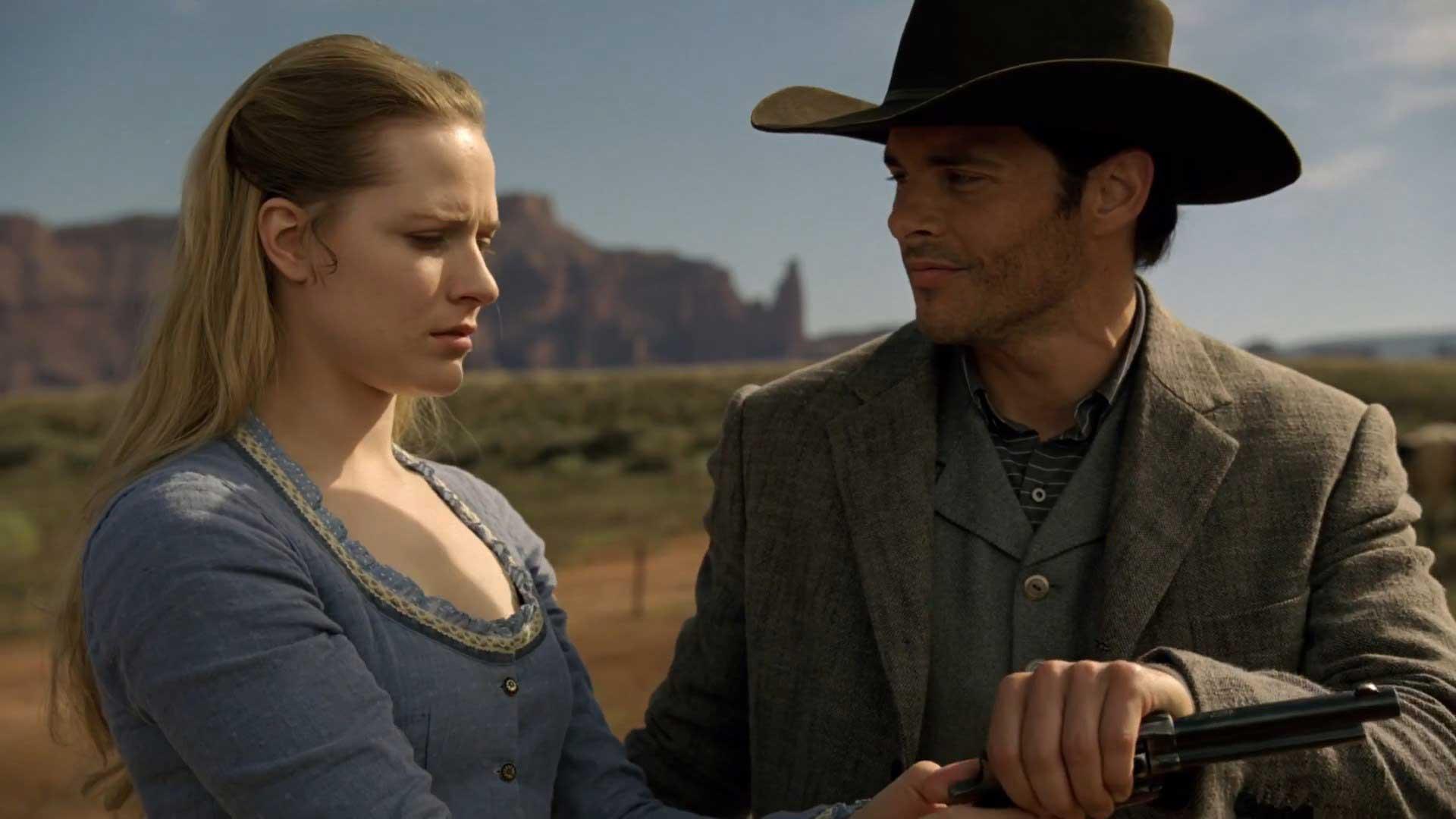 Westworld S01E03 Evan Rachel Wood Dolores Abernathy James Marsden Teddy Flood