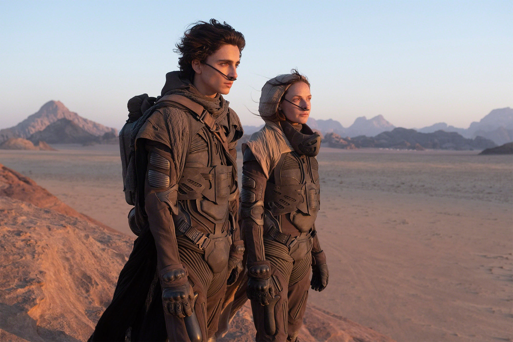 Dune Still 2 Timothee Chalamet as Paul Atreides Rebecca Fergusson as Lady Jessica