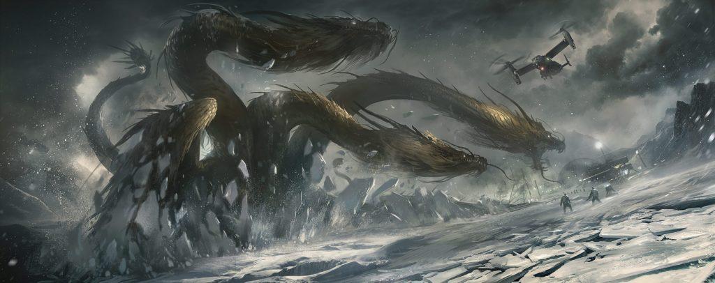 Godzilla King Of The Monsters Concept Art 17 - Godzilla vs Ghidorah Round 1