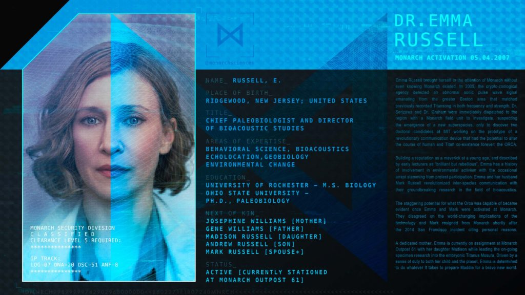 Godzilla King Of The Monsters Monarch Personnel Profile - Dr Emma Russell