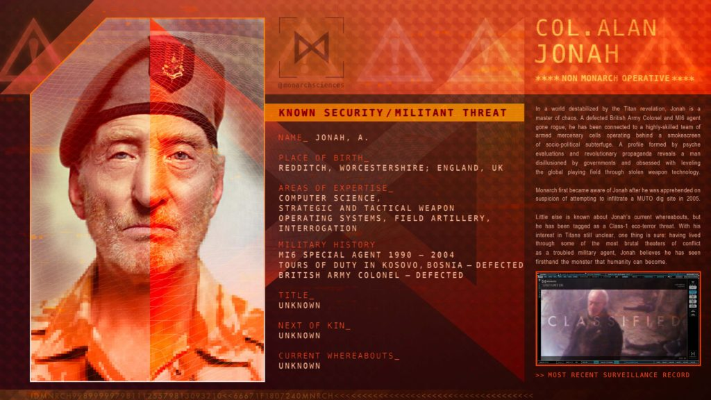 Godzilla King Of The Monsters Monarch Surveillance File - Colonel Alan John
